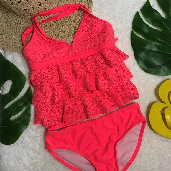 5ce5503c313 Circo Swim | Girls Hot Pink Ruffle Top Lace Tankini 2 Piece | Poshmark